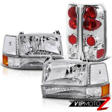 92-96 Ford F150 F250 F350 Bronco 8pc Chrome Housing Headlight+Corner+Tail Lamp