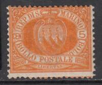 SAN MARINO 1877  5 cent.  Sassone n.2a MH* cv 300$ SIGNED FERRARIO