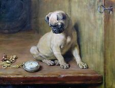 "Briton Rivière, Tick-Tick, 1881, PUG, DOG, antique home decor, 14""x11"" Art print"