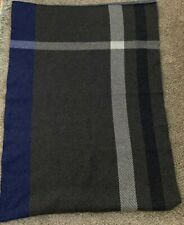 Banana Republic Italian Yarn Wool Plaid Colorblock Throw Blanket Blue/gray EUC