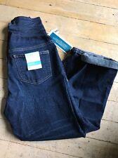 Old Navy SZ 8 Maternity Women's Jeans Cuffed Capri Smooth Panel MEDIUM WASH