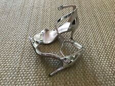 Angelina Silver NY Chic Heels With Open Toe, Ankle Strap Size 5 1/2