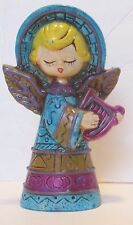 Vintage Angel Figurine with Harp Ceramic Mold Made in Japan 5 inch