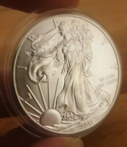 2011 Silver USA Eagle 1 oz coin with capsule