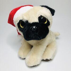 Gosh Designs PUG DOG Plush Soft Toy in Santa Christmas Hat with Glitter Eyes