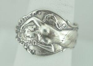 Beautiful 925 Sterling Silver Nude Venus Goddess Lady Girl Spoon Ring