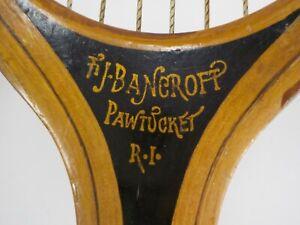 Early 1900's Wood FJ Bancroft The Winner Tennis Racket Pawtucket RI Datd1915
