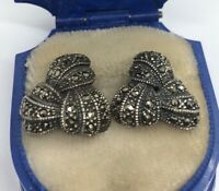 Vintage Sterling Silver Earrings 925 Marcasite Art Deco Knot