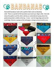PERSONALIZED reversible embroidered over the collar DOG BANDANA - Design Ur Own!