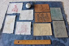 Rare Lot Of Victorian Redwork Embroidery Fabric Pieces & 5 Original Stencils
