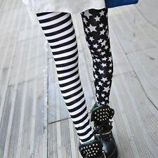 Women's Punk Getting Ripped Bandage Mesh Leggings (horizontal stripe and star)