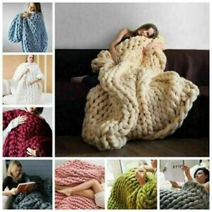 `UK Large Soft Chunky Knitted Thick Blanket Hand Yarn Wool Throw Sofa Blanket