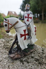 65815  SOLDAT  FIGURINE MEDIEVAL   TEMPLIER CHEVAL  CAVALIER XV  MOYEN  AGE