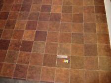 7827 PVC CV Belag Rest 185x402 Rost Braun Fliesen-Dekor sehr robust Vliesrücken