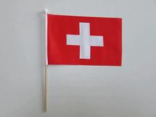 "SWITZERLAND / SWISS Handwaving Flag 9"" x 6"" Polyester Flag 12"" Wooden Pole"