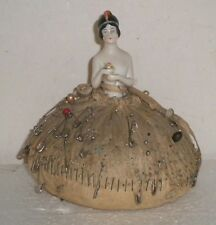 Porcelain Bisque Art Nouvea Deco Flapper 1/2 Doll Pin Cushion ~Germany
