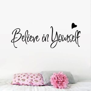 Believe In Yourself Wall Sticker Black Inspiring Quote Motivational Home Decor