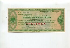 State Bank of India Calcutta Indian Rupee Travellers Cheque BA000000 SPECIMEN