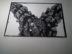 Gardian Angel by Leonard Baskin Inscribed 24th of December