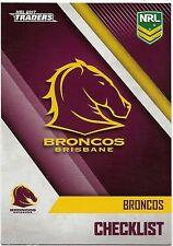 2017 NRL Traders Base Card (001) BRONCOS Check List