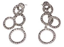 AIDA SILVER 3 TIERED diamante hoops JEWEL ENCRUSTED EARRINGS glam glam (ZX54)