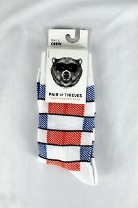Pair of Thieves Men's Crew Socks, Size 8 to 12,  Red White Blue Design  One Pair
