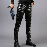 Men's Trousers Leather Slim Fit Punk Biker Leisure Long Pants Motorcycle Ths01