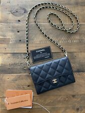 Authentic Chanel Classic Small/Medium Flap Wallet, Black Caviar Leather with GHW