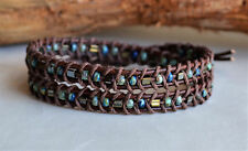 Mens Unisex Double Wrap Bracelet Handwoven Picasso Beads on Leather Yevga