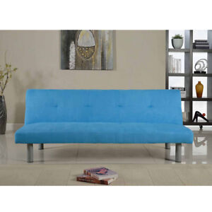 Blue Faux leather Sofa Bed - Seater Reclining,Sleeping Click-Clack system