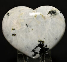 "3"" Rainbow Moonstone w/ Black Tourmaline Heart Sparkling Feldspar Mineral India"