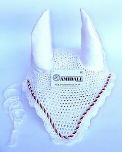 FLY VEIL HORSE EAR NET CROCHET EQUESTRIAN WITH PIPING WHITE COLOR FULL/COB/PONY