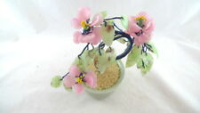 "Asian Cherry Blossom Bonsai Tree in Pot Faux Jade Celadon Green 8"" Home Decor"