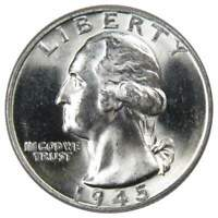 1945 25c Washington Silver Quarter US Coin Uncirculated Mint State