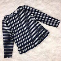 VINEYARD VINES Womens Top 10 Navy Blue White Stripe Silk Peplum Long Sleeve