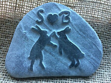 Courting hares hand carved into natural stone, personalised, perfect Wedding
