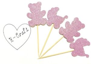 12 x Pink Glitter Baby Bear Cupcake Toppers / Baby Shower / It's a girl