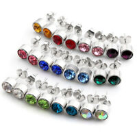 24pcs Stainless Steel Crystal Birthstone Round Ear Studs Earring Studex Piercing