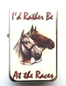 HORSE RACING   Petrol Lighter in  black velvet pouch.RACING BETTING  gift,..