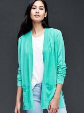 Gap Women's Open Front Cardigan, Linen Blend, Southern Turquoise, Size L, NWT
