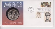 More details for usa pnc coin cover 1995 war ends! v-j day vj $5 marshall islands coin b/unc