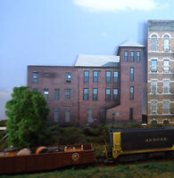#173 HO scale background building flat   SMALL FACTORY   FREE SHIPPING