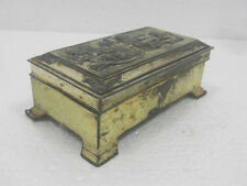 Old Antimony Rectangular Boys Playing Musical Instruments Embossed Jewellery Box