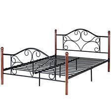 Queen Size Steel Bed Frame Platform Stable Metal Slats Headboard Footboard Black