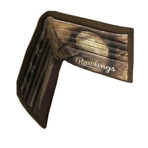 Rawlings Leather Wallet Baseball USA American Flag Billfold Slim Card Organizer
