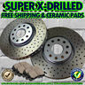 S0324 FIT 1997 1998 Ford Mustang BASE REAR Drilled Brake Rotors Ceramic Pads