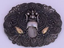 embellishments ornate unique pin brooch Vintage sterling silver & gold plate