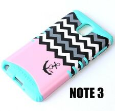 For Samsung Galaxy Note 3 - HARD&SOFT RUBBER HYBRID CASE MINT BLUE PINK CHEVRON