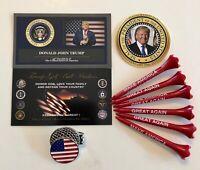 Trump ..USA Golf Ball Marker & Hat Clip + 6 MAGA Golf Tees...with 1 Decal