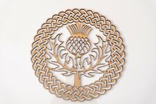 Wooden MDF Plaque Blank shape -Scottish Thistle in Celtic ornamental round frame